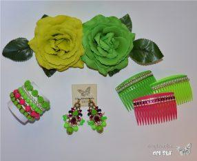 Conjunto verde pistacho y rosa fucsia