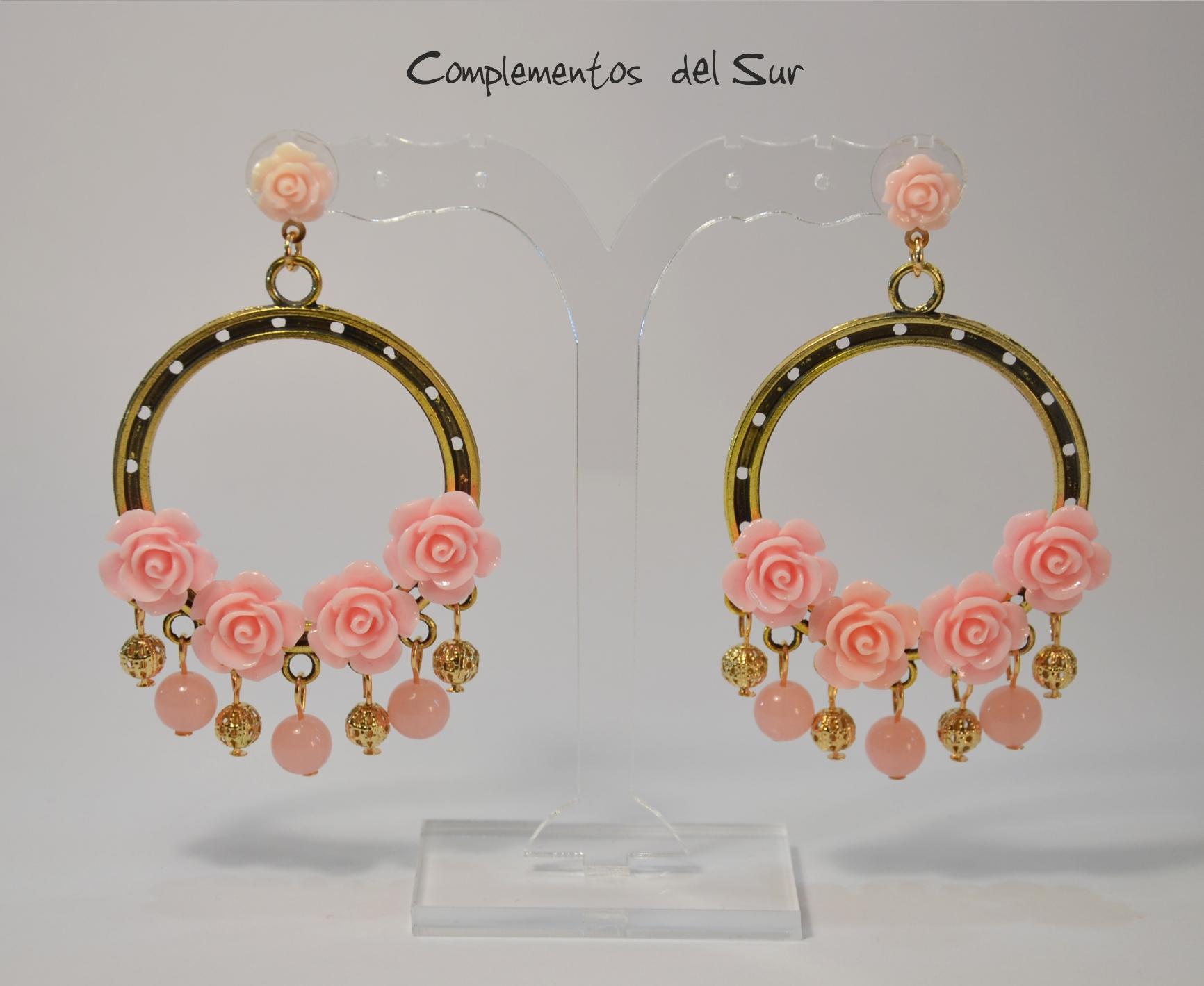 pendientes flamenca rosa
