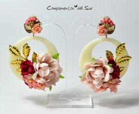 pendientes-de-flamenca-con-flores-granate-y-nude
