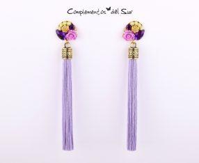 Pendientes flecos lilas