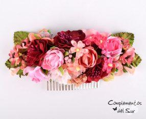 Peinecillo flores rosa y granate