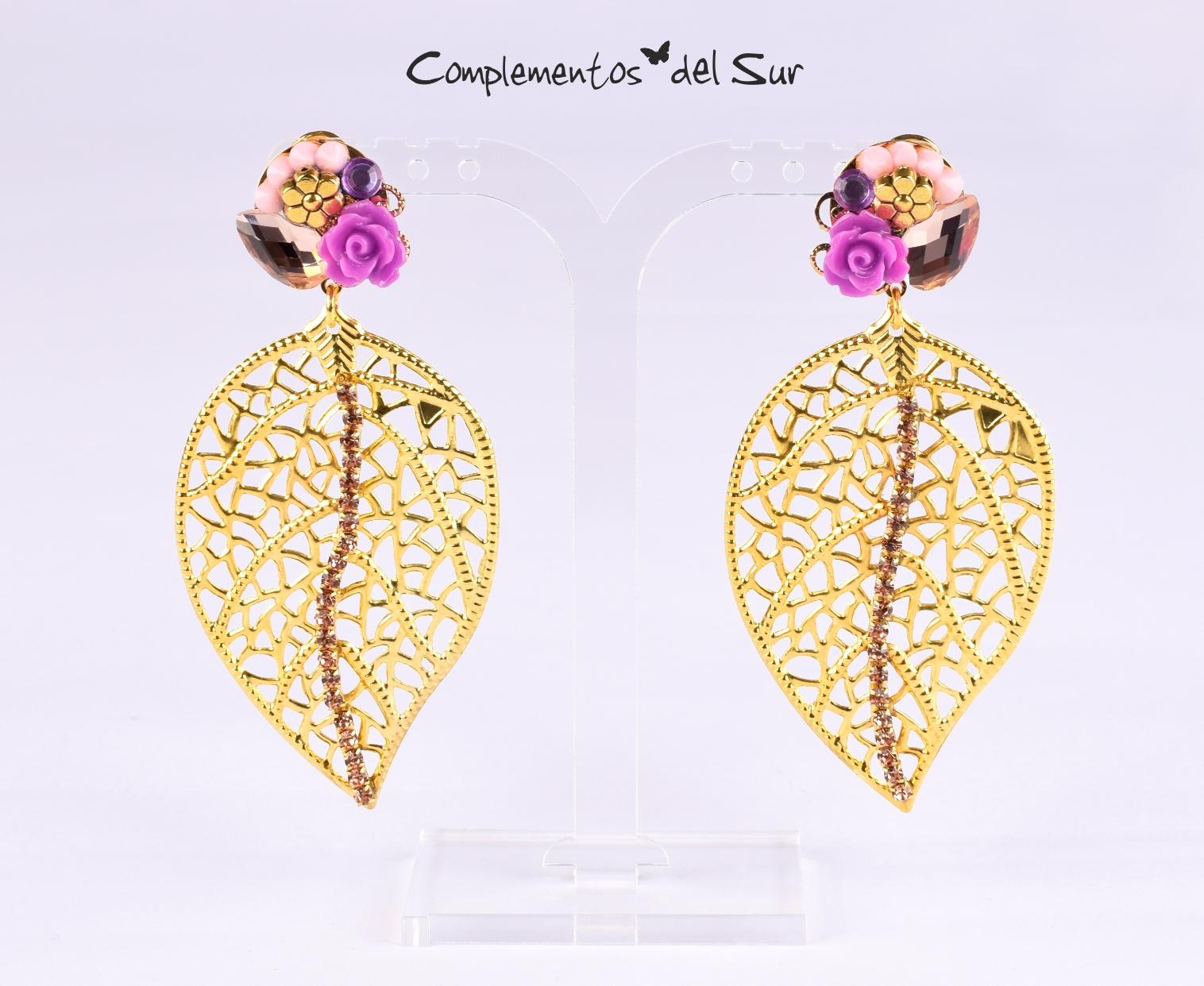 3ab5252aa690 Pendientes dorados y lilas - Complementos del Sur