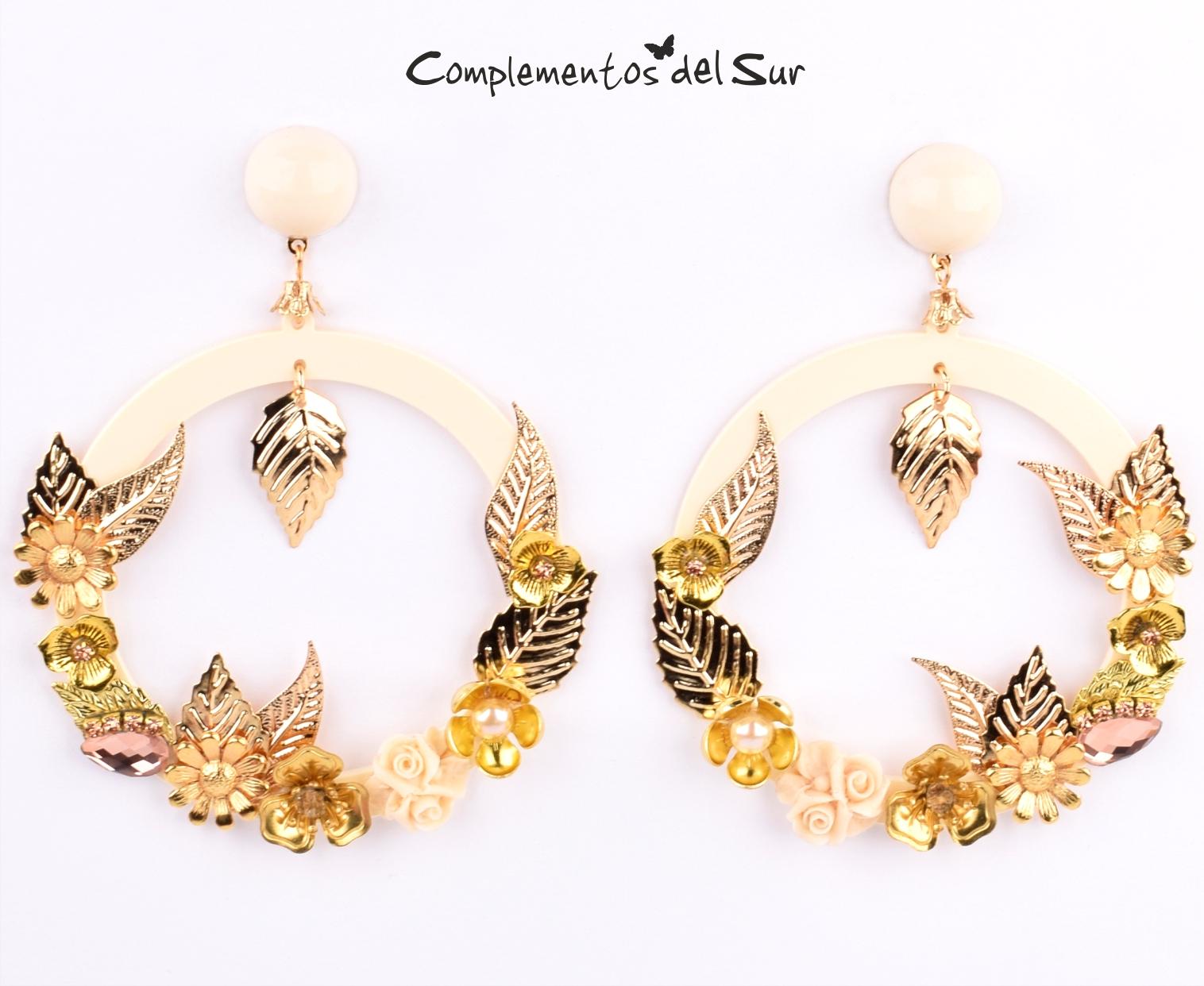923ab6f30687 Pendientes flamenca dorados - Complementos para flamenca y fiesta