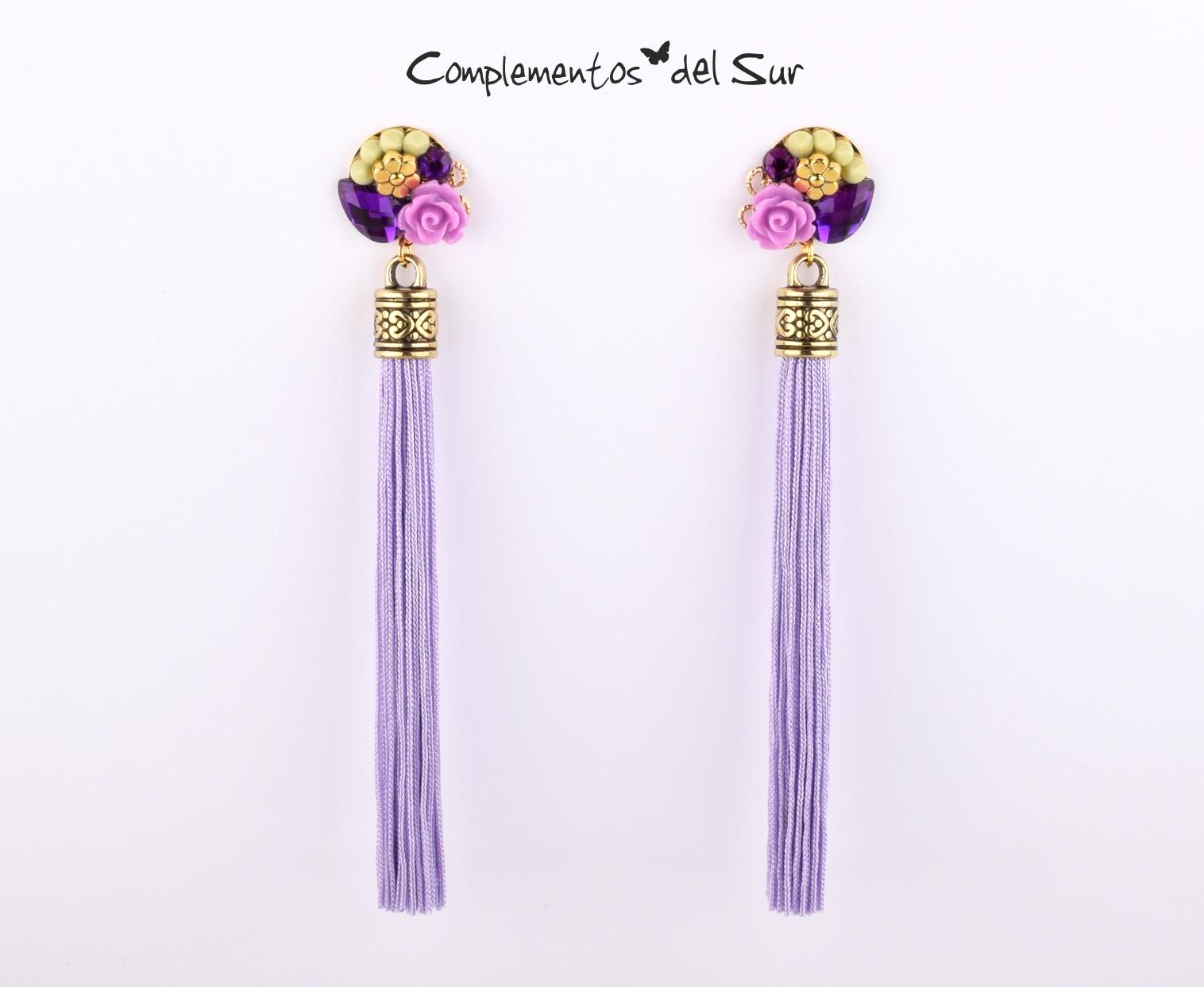 857c3b98c47d Pendientes flecos lilas - Complementos para flamenca y fiesta