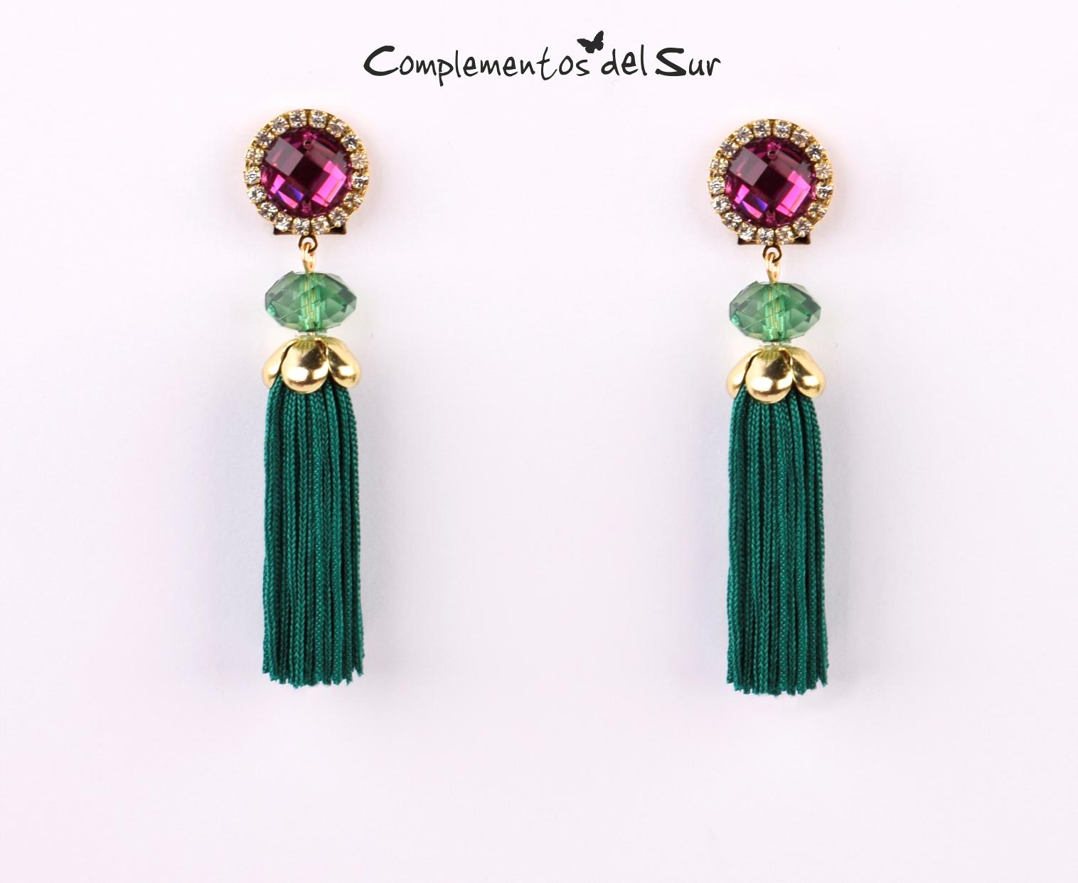 e80184fb0136 Pendientes flecos verdes - Complementos para Flamenca y Fiesta 2019